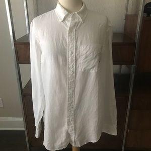 Club Monaco White Linen Shirt Slim Fit Long Sleeve